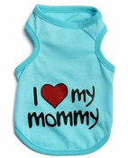Blue I Love My Mommy Dog Vest Top