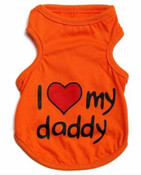 Orange I Love My Daddy Dog Vest Top