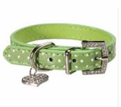 Green Spotty Dog Collar