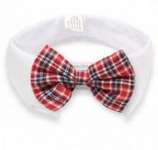 Red Tartan Bow Tie White Dog Collar