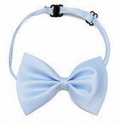 Light Blue Shiny Dog Bow Tie