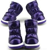 Purple Fleece Lined Dog Snow Boots