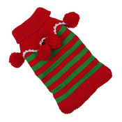 Red and Green Stripe Knitted Christmas Elf Dog Jumper
