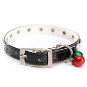 Black PVC Rhinestones Bell Dog Collar