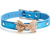 Blue Sparkly Rhinestones Bow Dog Collar