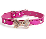 Dark Pink Sparkly Rhinestones Bow Dog Collar