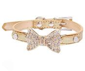 Gold Sparkly Rhinestones Bow Dog Collar