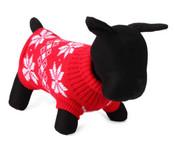 Red Leaf Design Knitted Dog Jumper