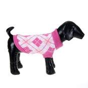 Light Pink Check Knitted Dog Jumper
