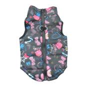 Black Heart Bow Dog Puffer Vest Coat