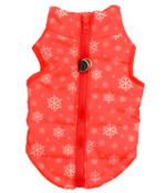 Red Snowflake Dog Puffer Vest Coat