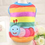Rainbow Striped Caterpillar Dog Fleece Vest