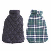 Green Tartan Reversible Dog Coat