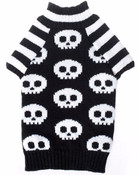 Black White Skeleton Skull Knitted Dog Jumper