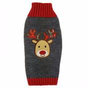 Grey Reindeer Rudolph Knitted Dog Jumper