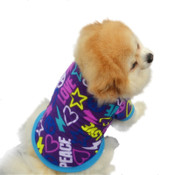 Purple Blue Love Peace Dog Fleece