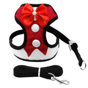 Red Tuxedo Suit Dog Harness & Lead Set