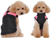 Black Pink Padded Dog Vest Coat