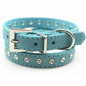 Blue Rhinestone Studded Dog Collar