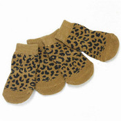 Brown Leopard Print Dog Socks