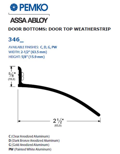 Pemko 346 - Door Top Weatherstrip (Drip Cap)