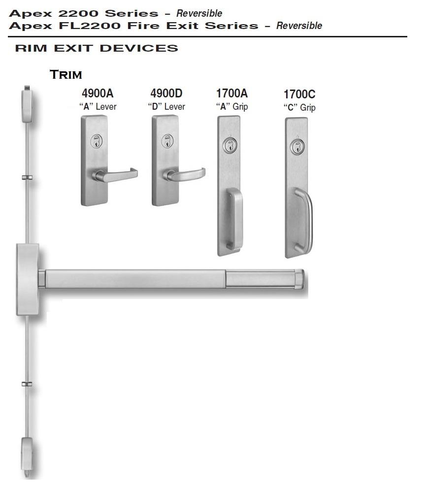 Apex 2200 surface vertical rod exit devices door hardware for Best quality door hardware