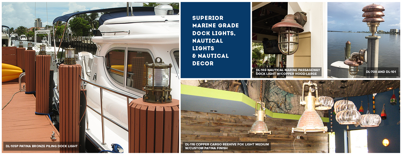 heavy duty nautical dock lighting, brass and aluminum dock lights, Reel Combo