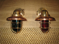 Medium Bronze 90 degree Passageway dock lights - PAIR Port/Starboard