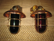 "LARGE 14"" Bronze 90 degree Passageway lights - PAIR Port/Starboard"