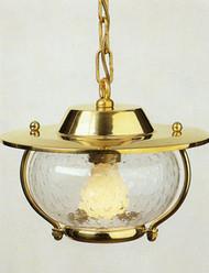 Hanging Brass European Nautical Light w/seeded glass