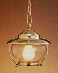 Hanging Brass European Nautical Light w/seeded glass-Small
