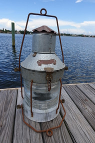Galvanized anchor nautical ship's light.  Hanging ship's light.