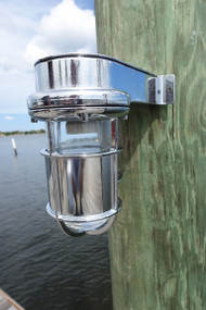 chrome shielded nautical dock light