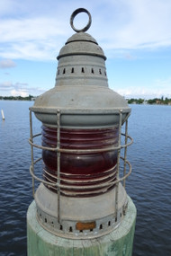 Perko original ships lantern.  red fresnel lens.  Dock Light.