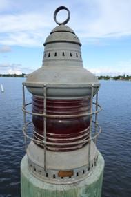 Perko original ships lantern.  red fresnel lens.  Dock Light.