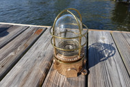 Straight Passageway Brass Ship's Lightw/wire cage-Highly Polished