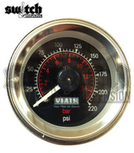 "Viair Single Needle 220 PSI 2.0"" Gauge Black Face - 90090"