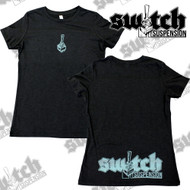 Switch Suspension Ladies Tee Shirt Small Logo w/ Rear Print Black / Teal