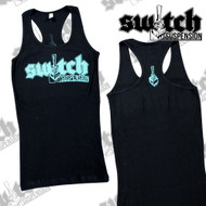 Switch Suspension Ladies Tank Top Small Logo w/ Rear Print Black / Teal