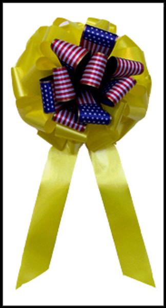 Patriotic Yellow Ribbon Bow - Flag Ribbon Bow