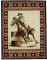 "Large Western Area Rug With Barrel Racer & Navajo Border  5' x 6'5"" 32471"