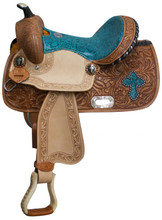 Teal Double T Barrel Saddle with Snakeskin 5123