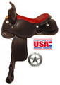 American Saddlery Midnight Trail Saddle With Red Seat 552 - Western Horse Saddle