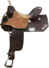 Showman Barrel Racing Saddle 6533 - Western Horse Saddles - Crystal Accents - Alligator Print Seat
