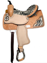 Double T Barrel Saddle Zebra print 6387 - Western Horse Saddles