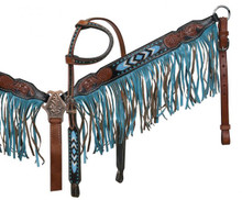 Showman Headstall Breast Collar Set Teal Inlay & Fringe Suede 12916 - Western Tack