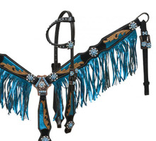 Showman Headstall Breast Collar Set Leather Blue Fringe 12912 - Western Tack