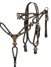 Showman Headstall Breast Collar Set Copper Studs 12924X - Western Tack
