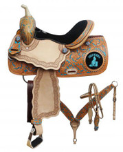 Double T Teal Barrel Racing Saddle 7868 - Western Saddles