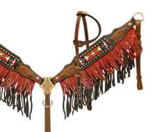 Showman Headstall Breast Collar Set Feather Print with Fringe 13051 - Western Tack